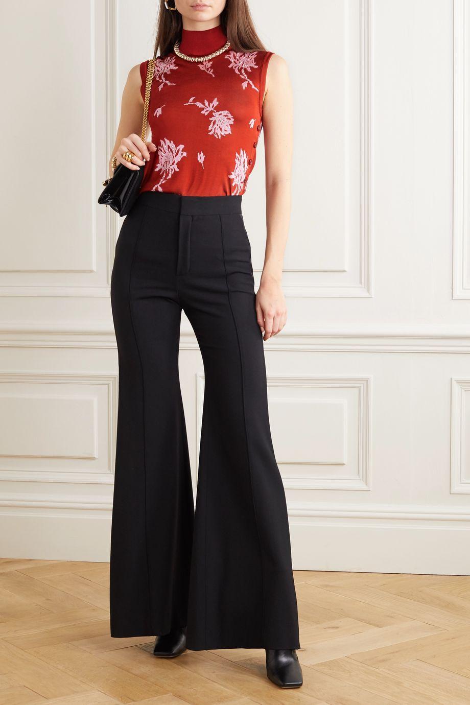 Chloé Crystal-embellished floral-jacquard top