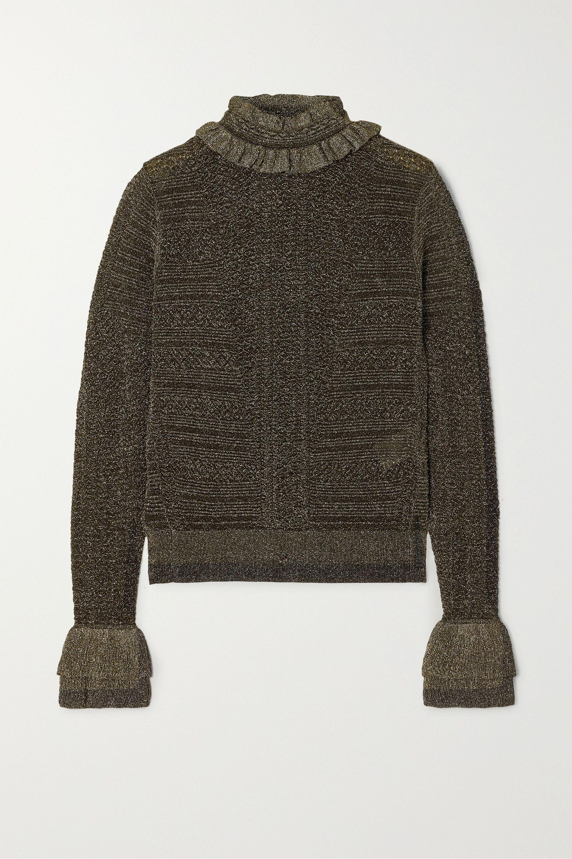Chloé 褶饰金属感罗纹针织毛衣