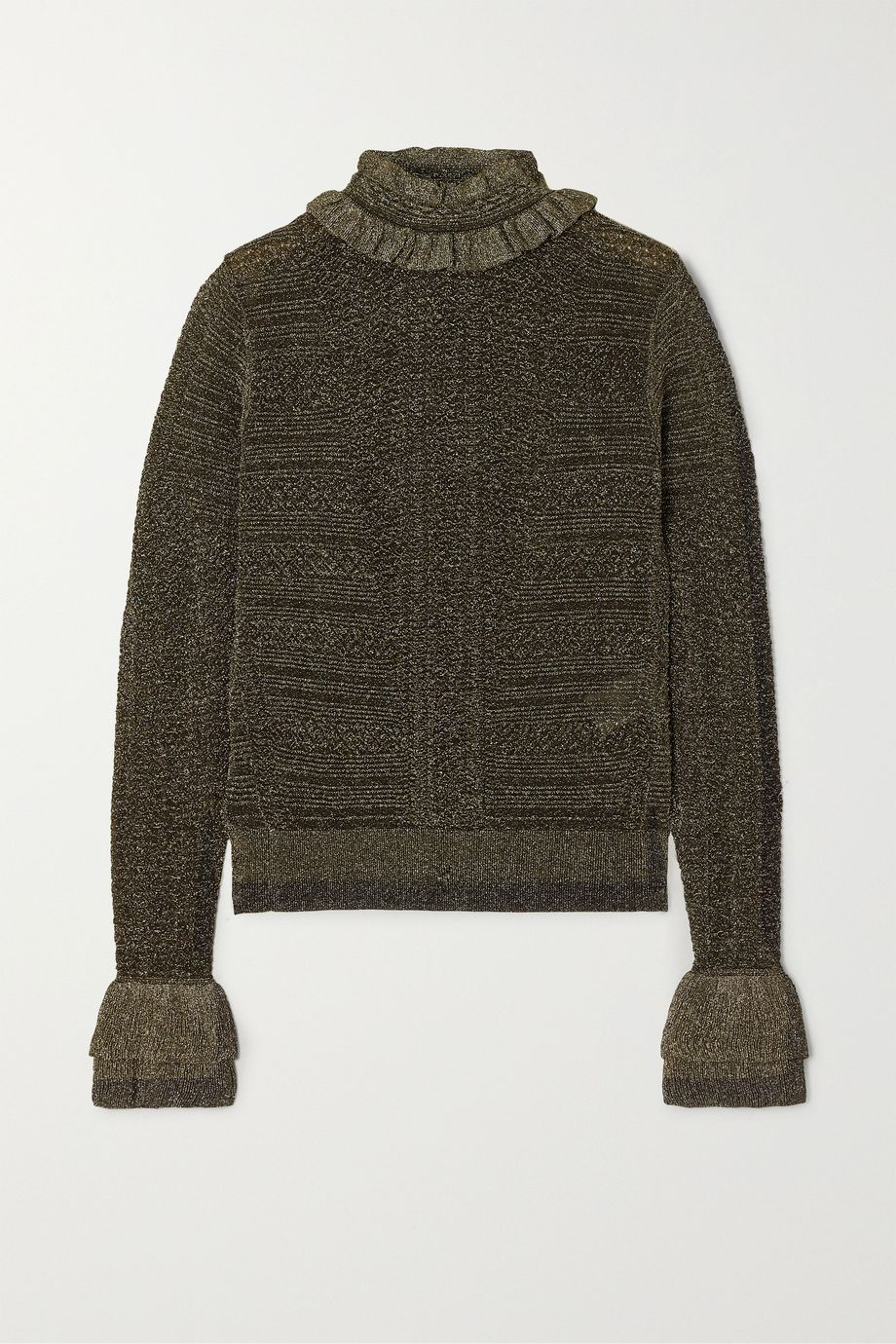Chloé Ruffled metallic ribbed-knit sweater