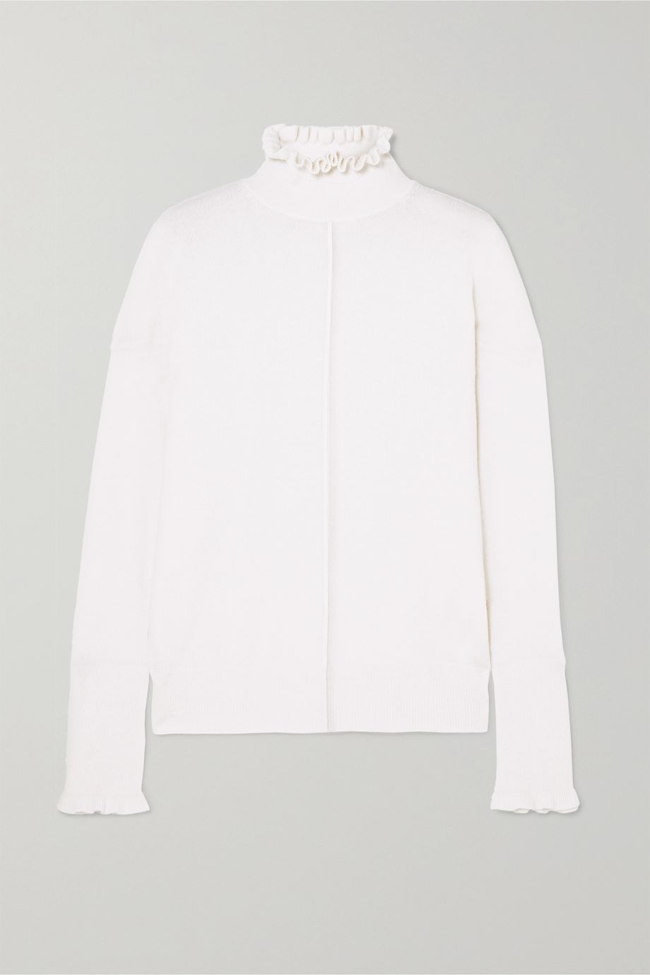 Chloé Button-detailed ruffled cashmere turtleneck sweater
