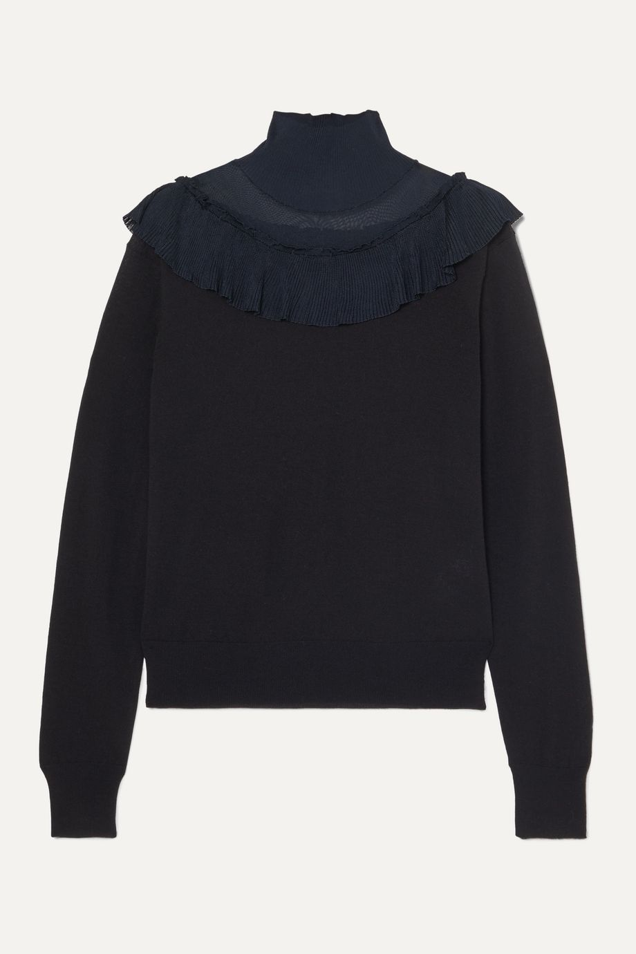 Chloé Ruffled ribbed-knit and wool sweater