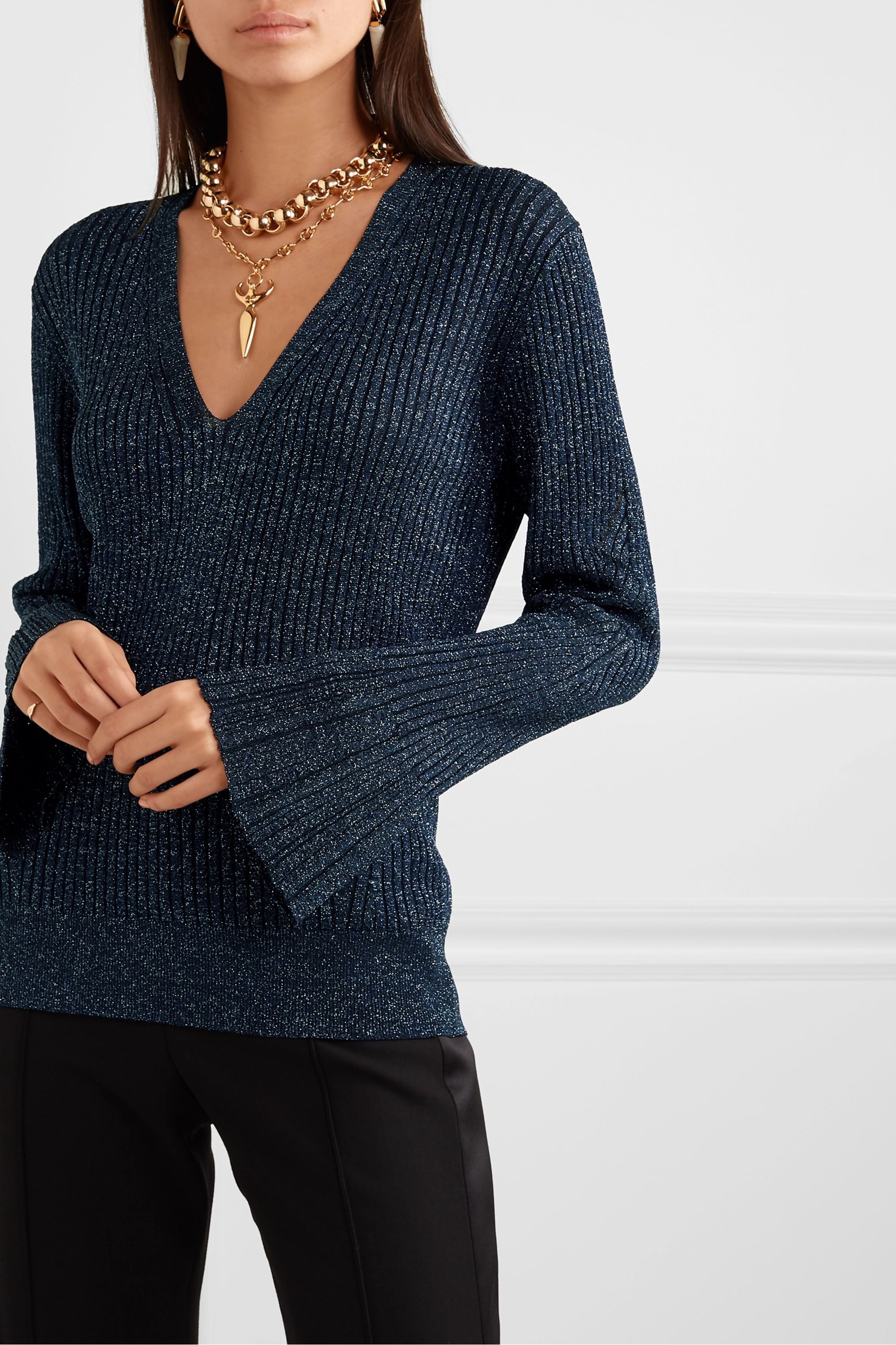Chloé Metallic ribbed-knit sweater