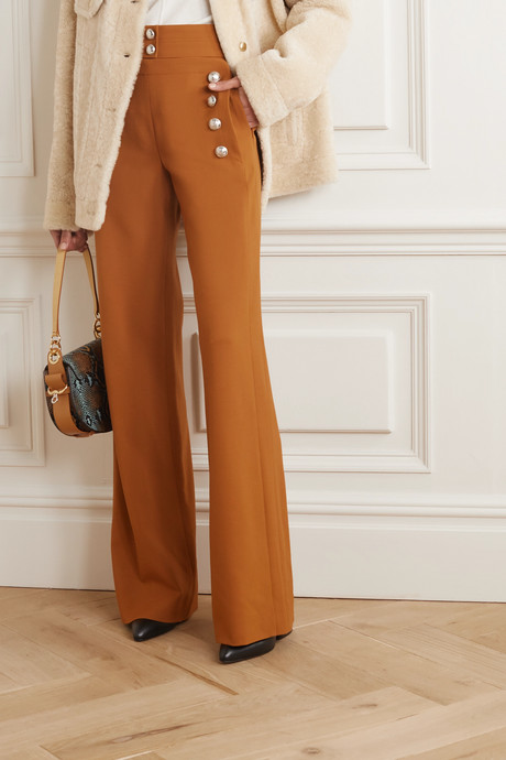 Button-embellished stretch-wool wide-leg pants
