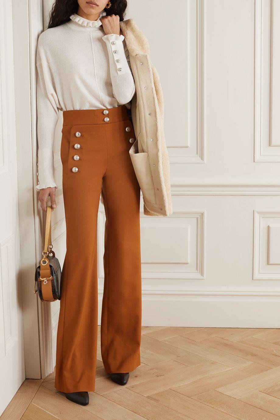 Chloé Pantalon large en laine stretch à boutons