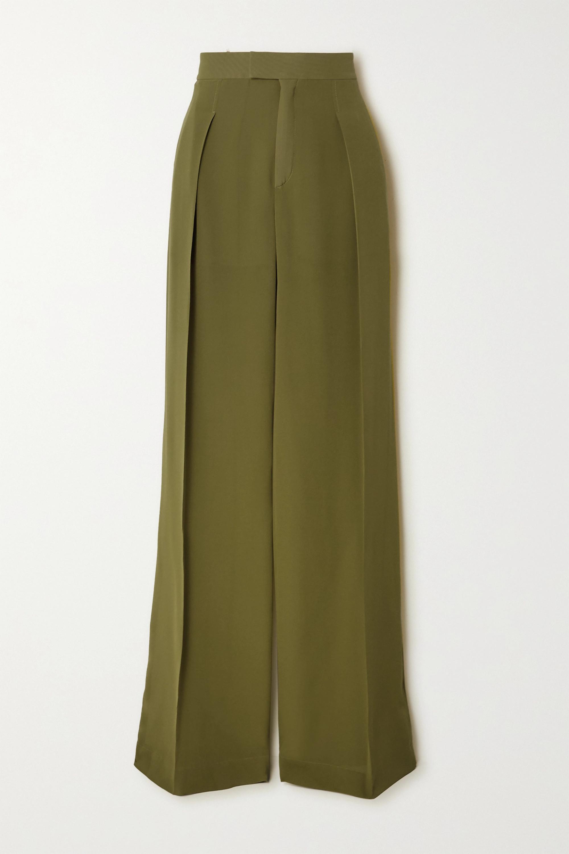 Chloé Hose mit weitem Bein aus Seiden-Georgette mit Falten