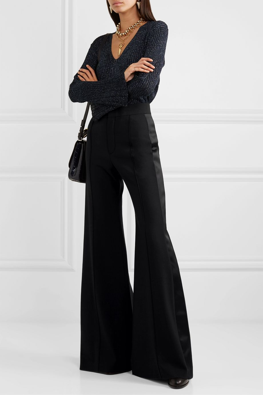 Chloé Silk-blend satin-trimmed wool-blend wide-leg pants