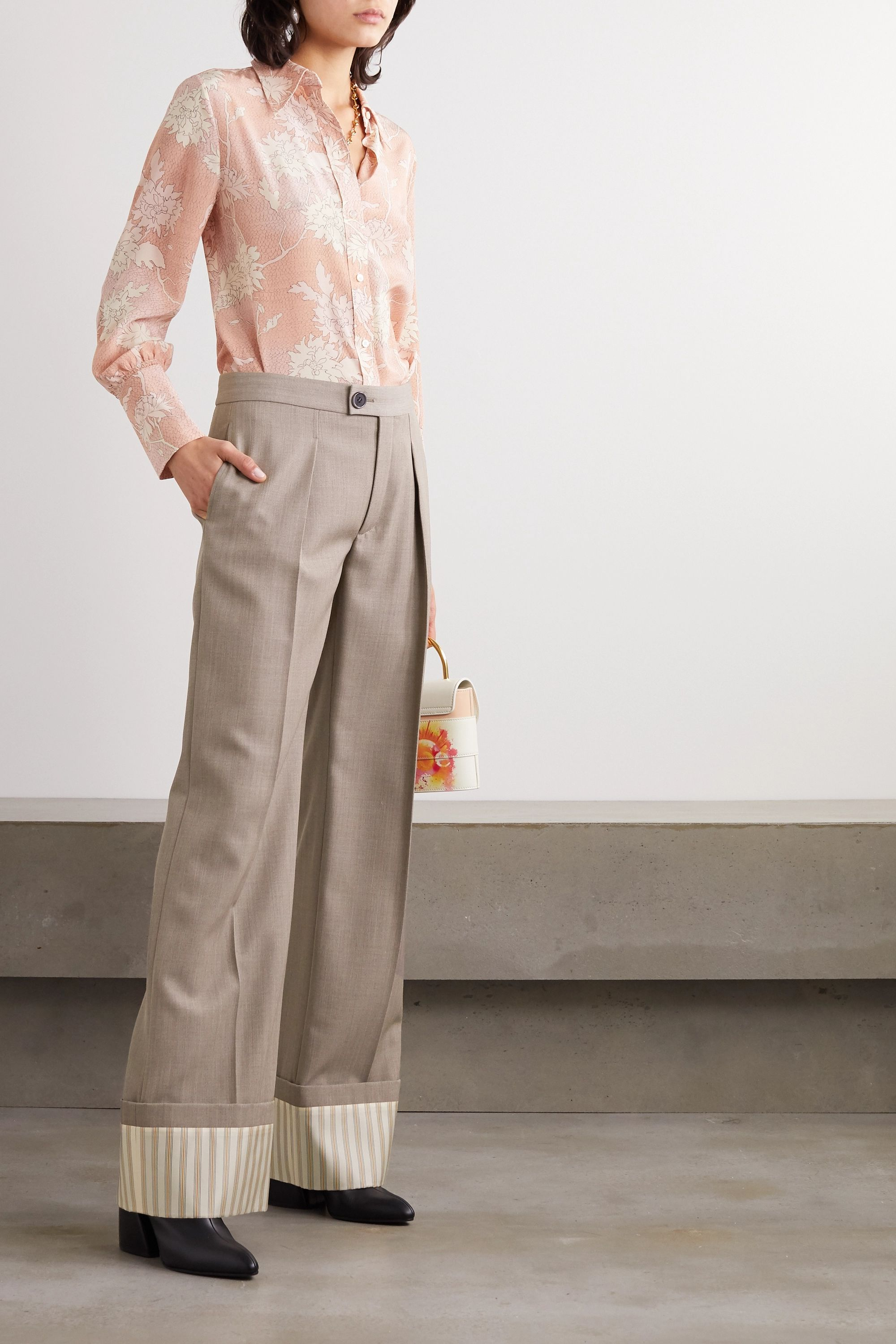 Chloé Pleated wool and pinstriped silk wide-leg pants