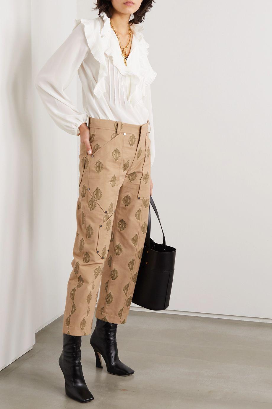 Chloé Embroidered cotton-gabardine cargo pants