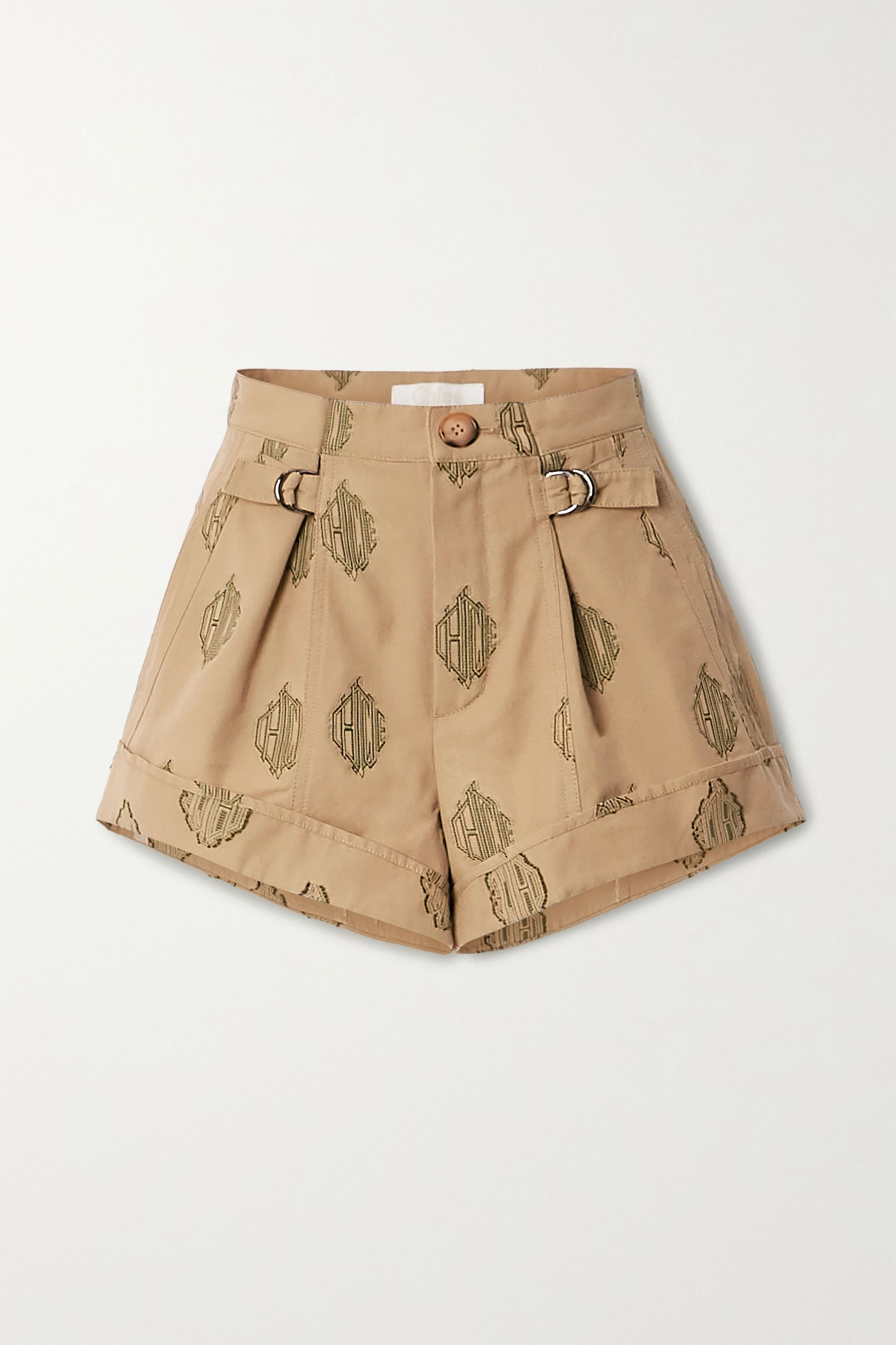 Chloé Embroidered pleated cotton shorts