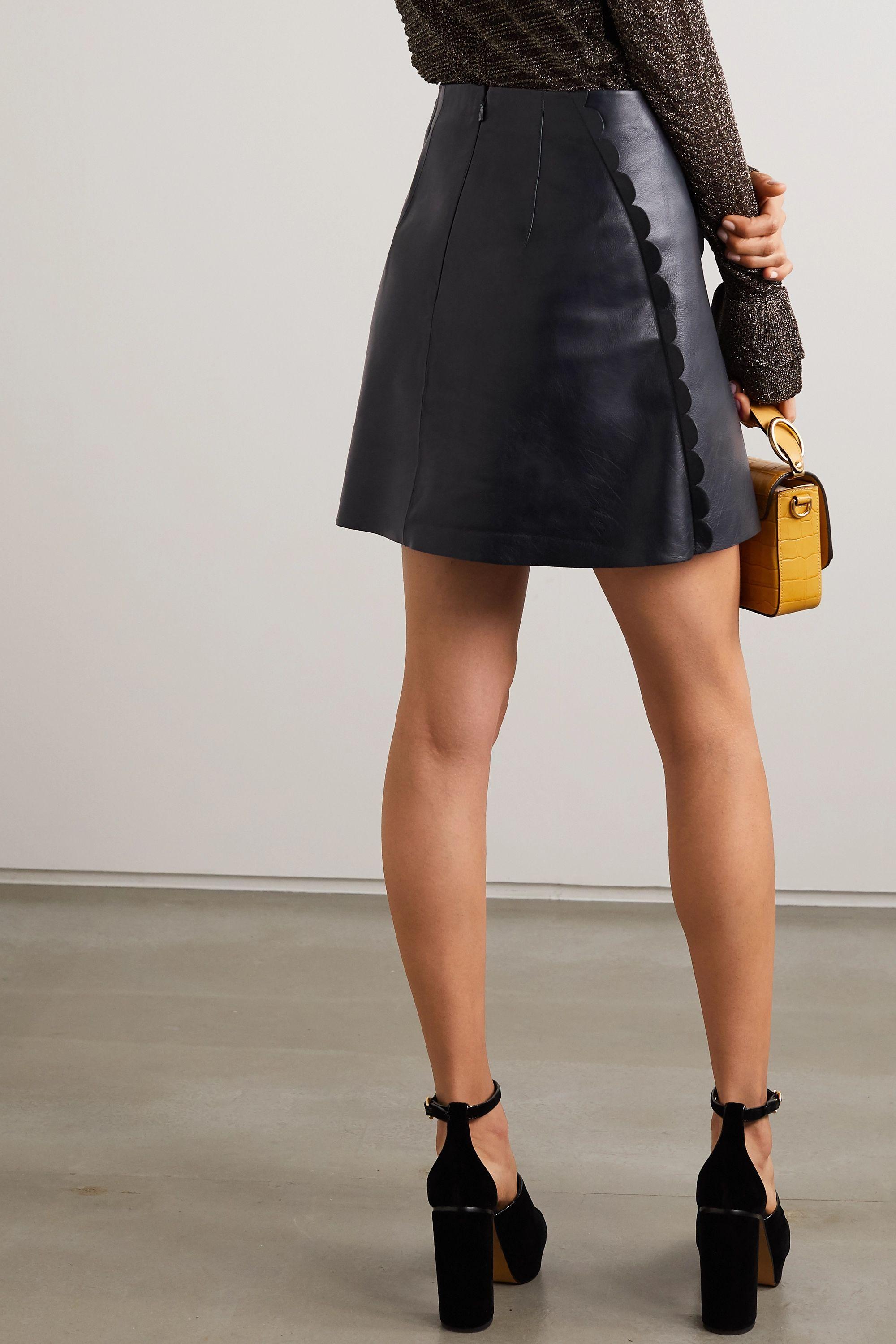 Chloé Mini-jupe en cuir à festons