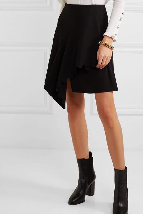 Asymmetric scalloped crepe mini skirt