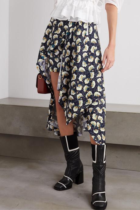 Asymmetric floral-print silk-blend skirt