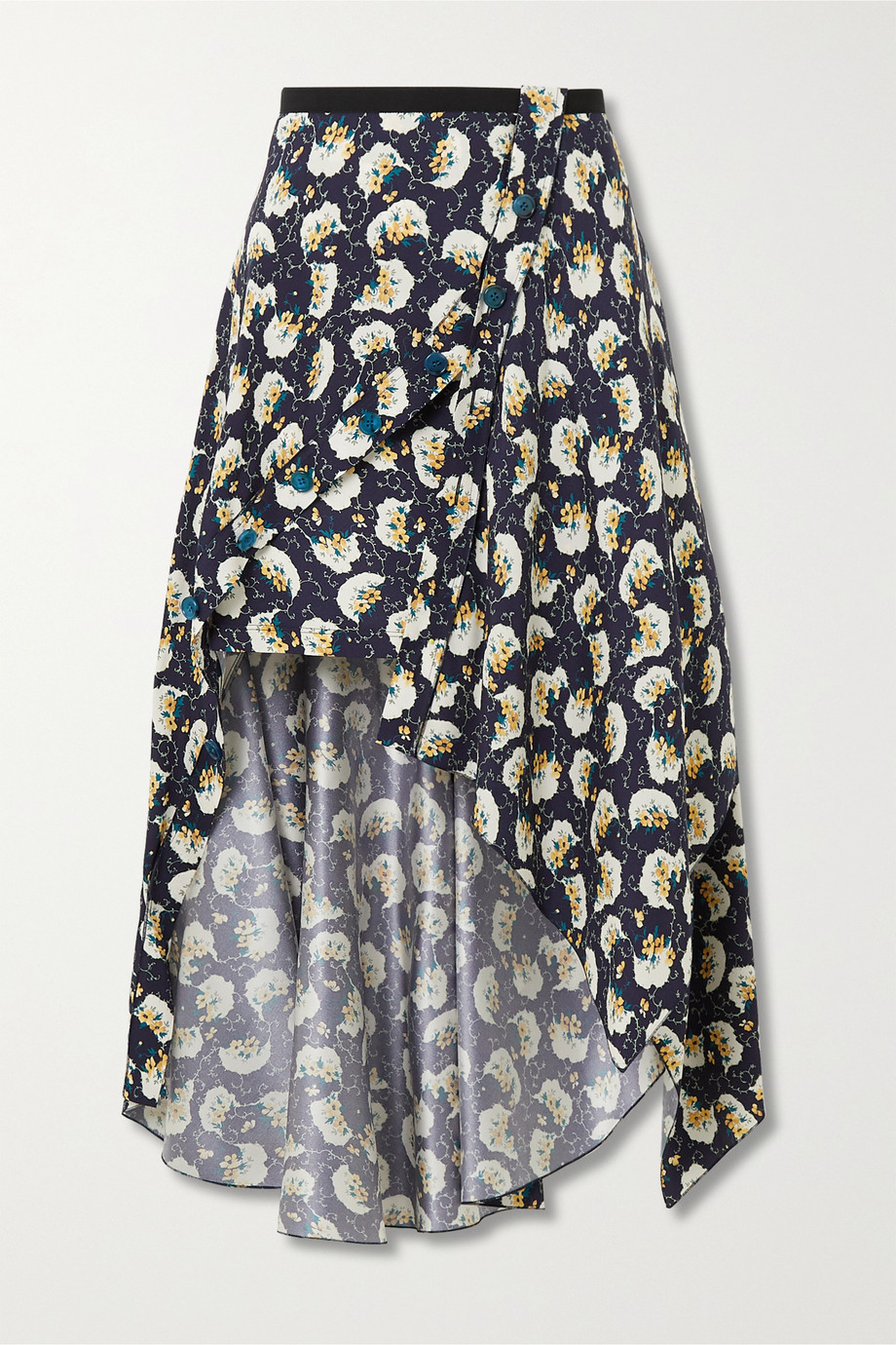 Chloé Asymmetric floral-print silk-blend skirt