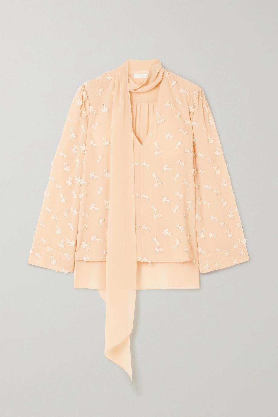 Chloé Pussy-bow appliquéd silk-georgette blouse