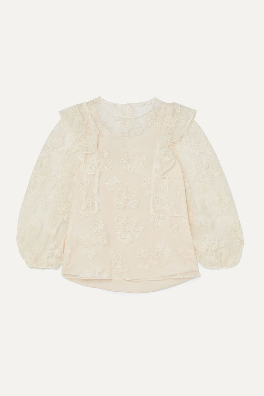 Chloé Ruffled embroidered tulle blouse