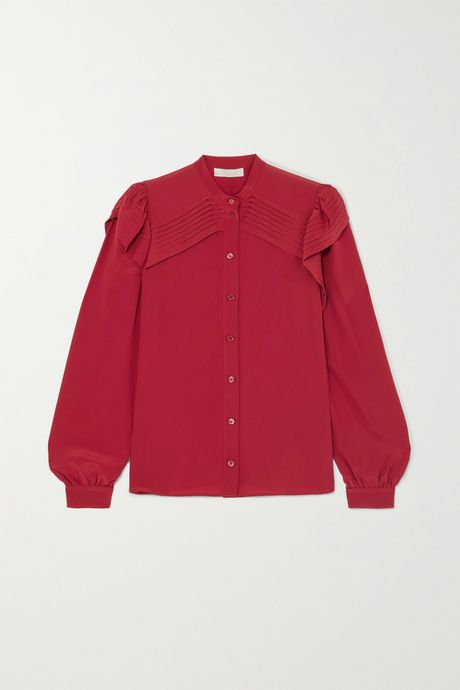 Red Ruffled pintucked silk crepe de chine blouse | Chloé vy9wUs