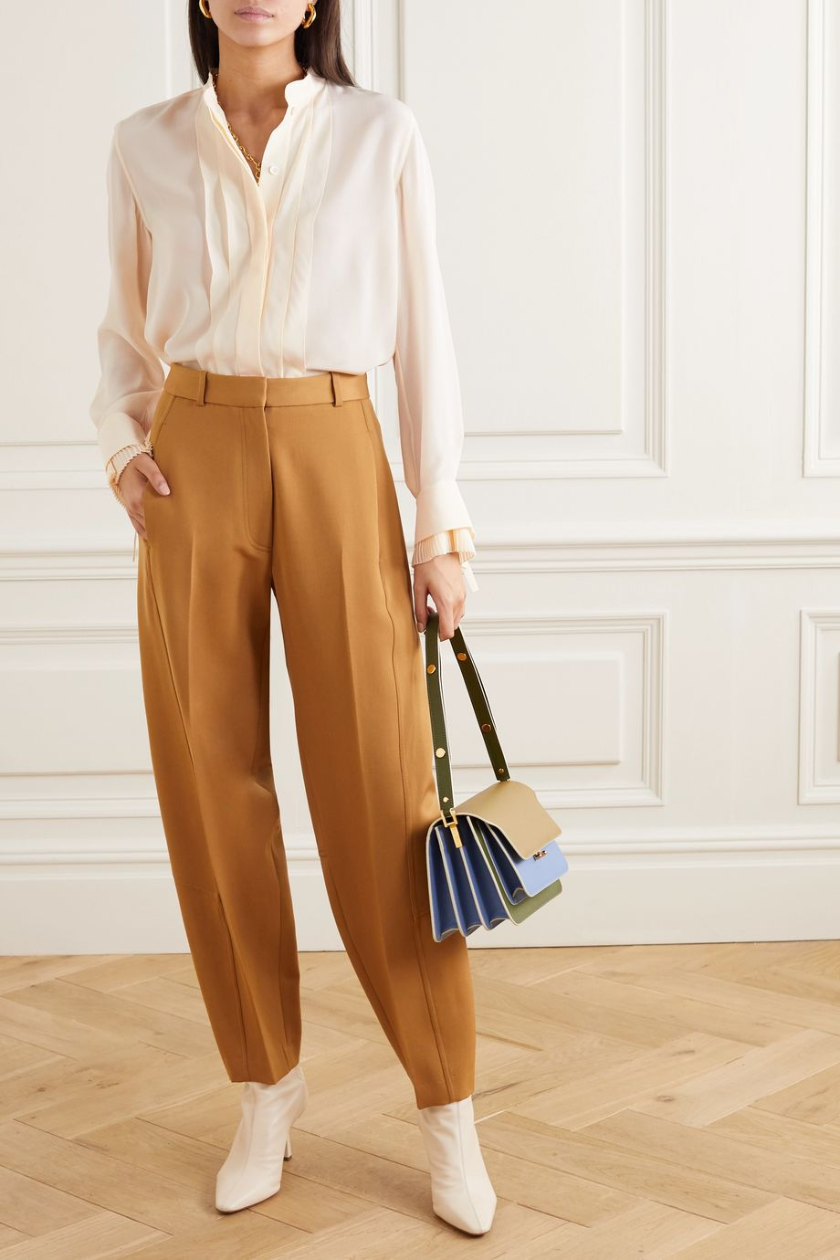 Chloé Pleated silk crepe de chine blouse