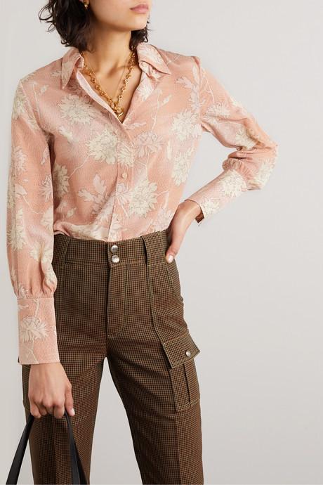 Floral-print silk crepe de chine blouse