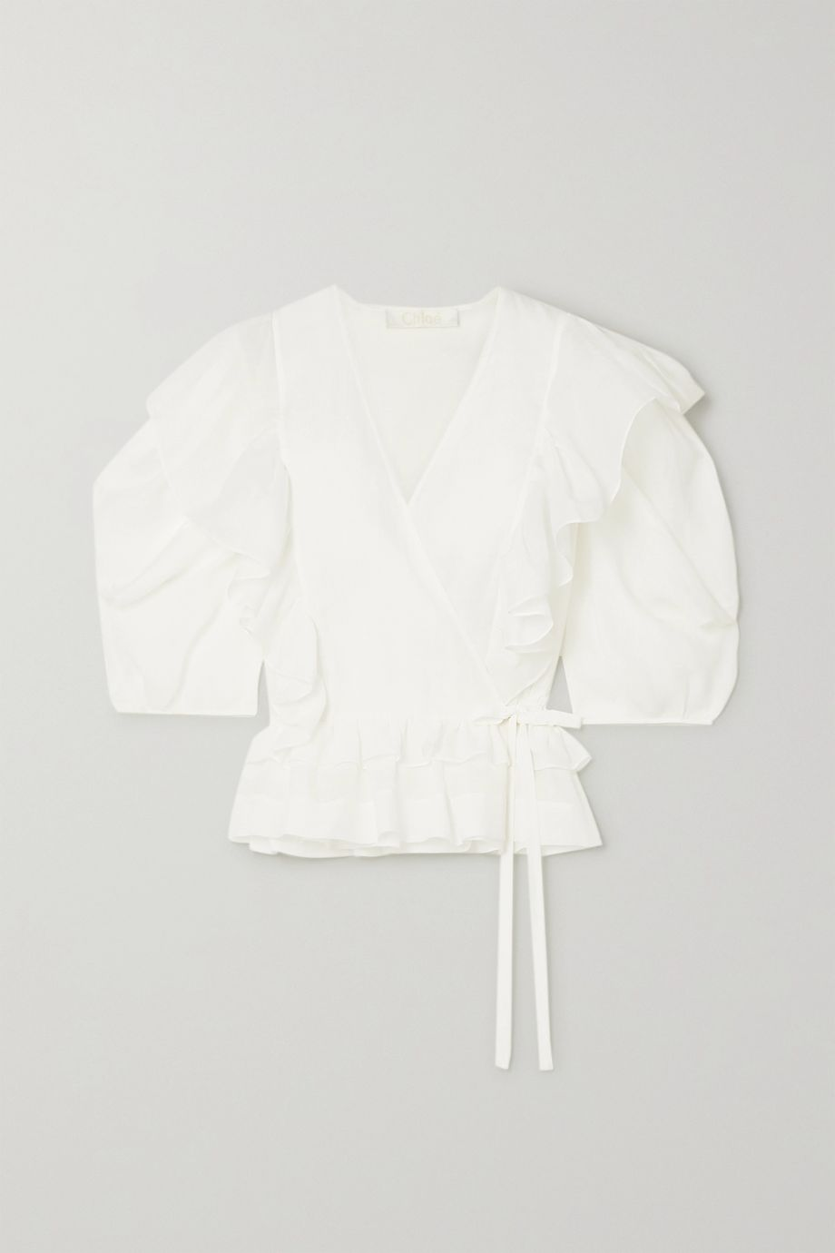 Chloé Ruffled ramie wrap blouse