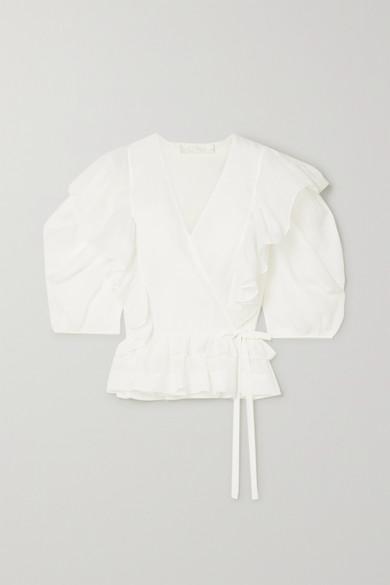 ChloÉ Gewickelte Chinagras-bluse Mit RÜschen In Ivory
