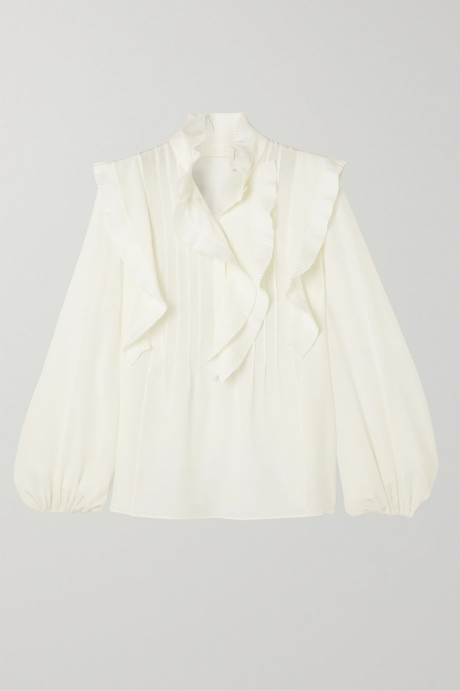 Chloé Ruffled pintucked silk crepe de chine blouse