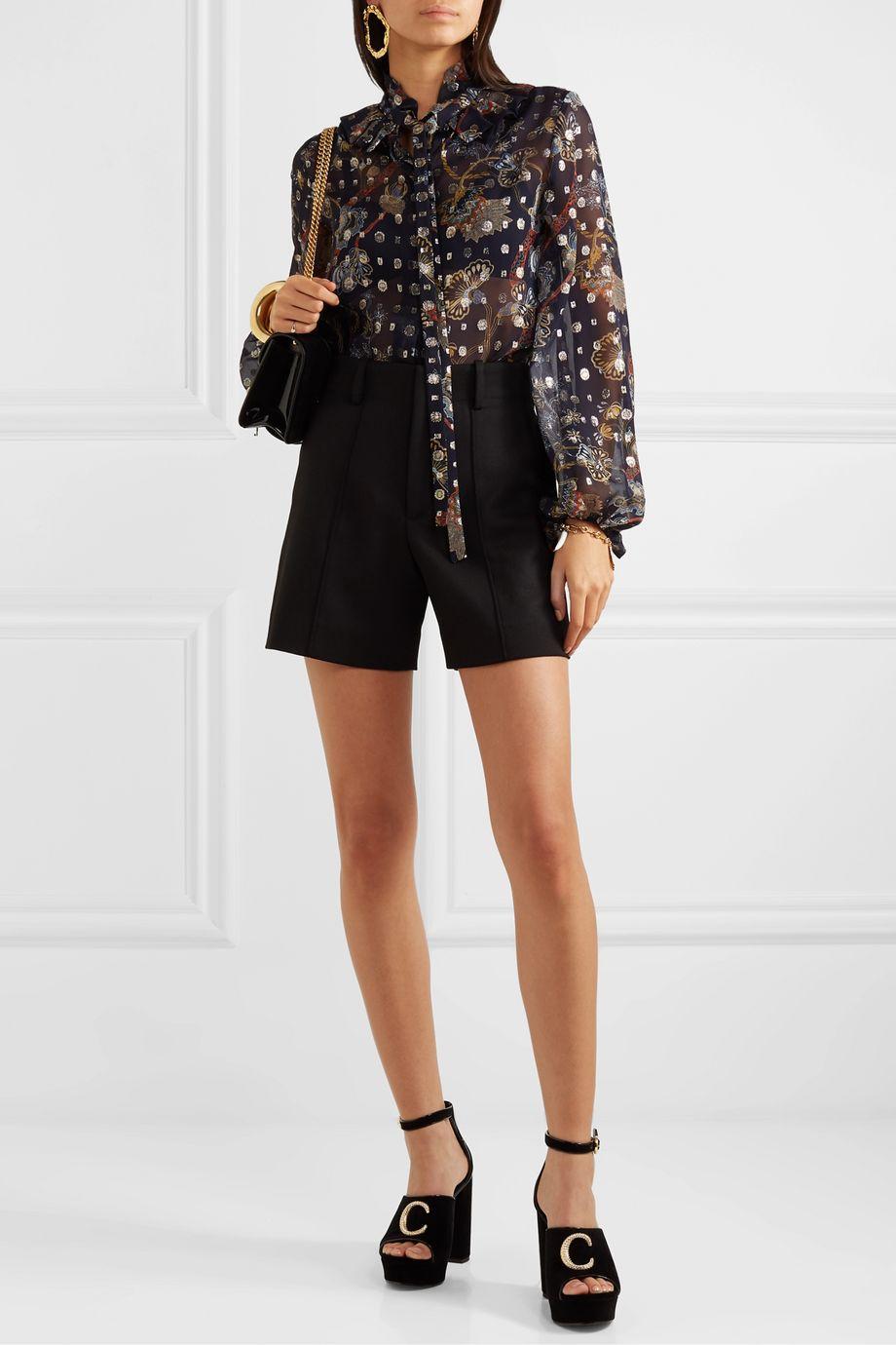 Chloé Ruffled pussy-bow printed fil coupé silk-chiffon blouse