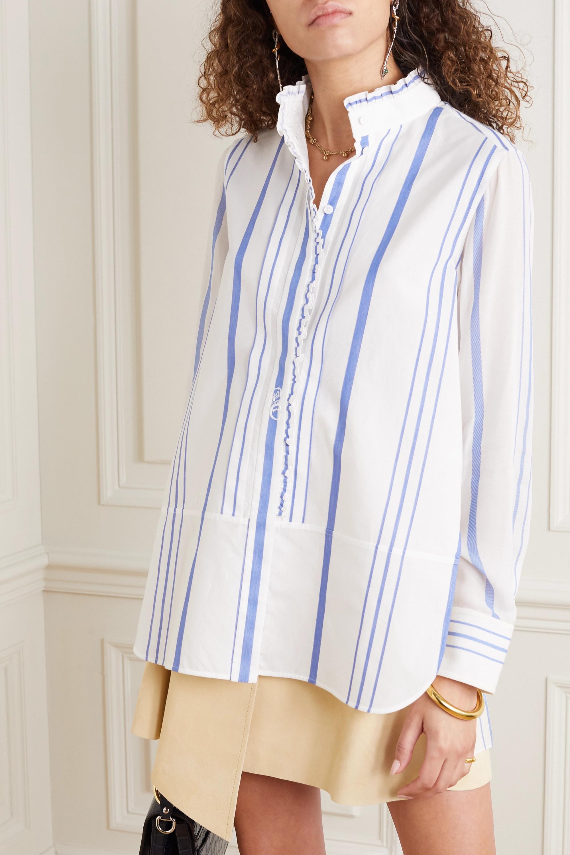 Chloé Hemd aus gestreiftem Baumwoll-Twill und Georgette mit Stickerei