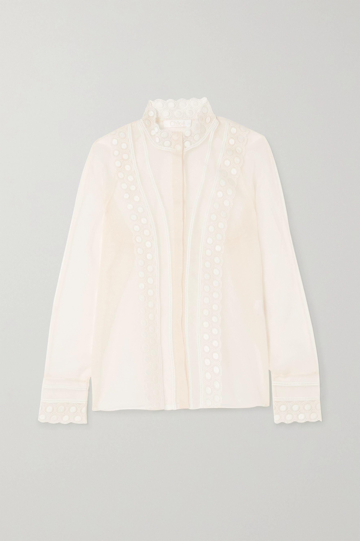 Chloé Bestickte Bluse aus Seidenorganza