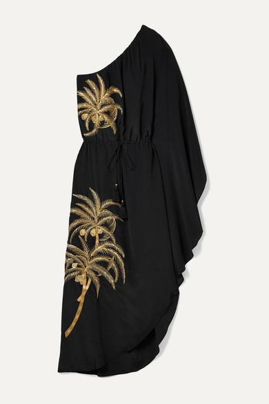 Figue Maisie one-shoulder embellished embroidered crepe de chine dress