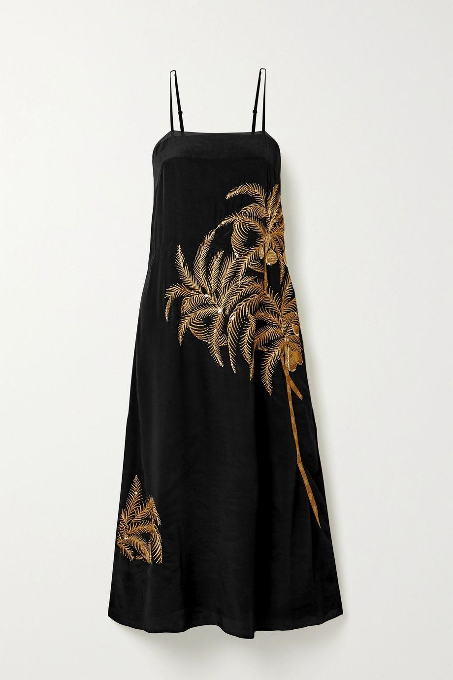 Figue Olatz embellished embroidered crepe de chine midi dress