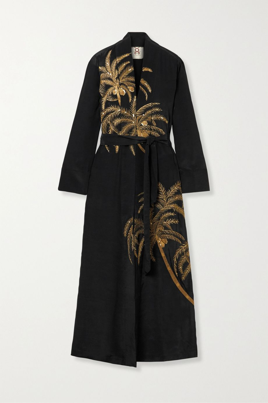Figue Olatz embellished embroidered crepe de chine kimono