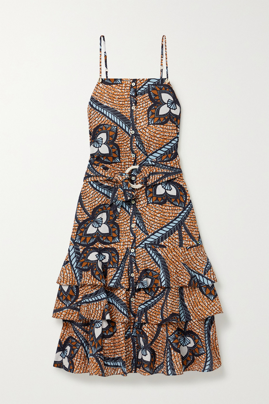 Figue Marina shell-embellished printed cotton-voile midi dress