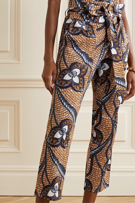 Portia printed cotton-voile tapered pants
