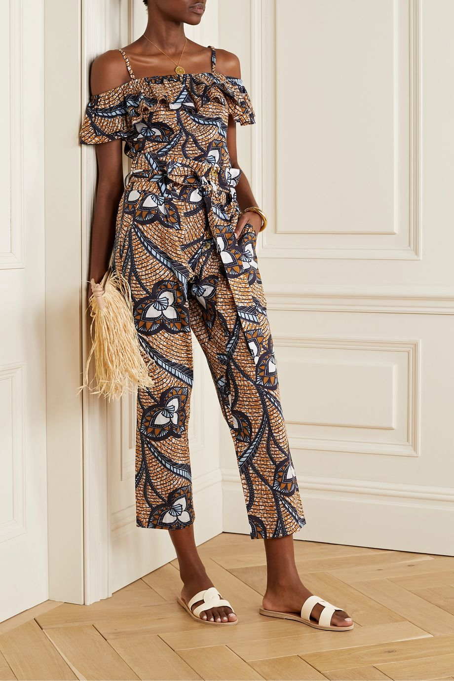 Figue Portia printed cotton-voile tapered pants