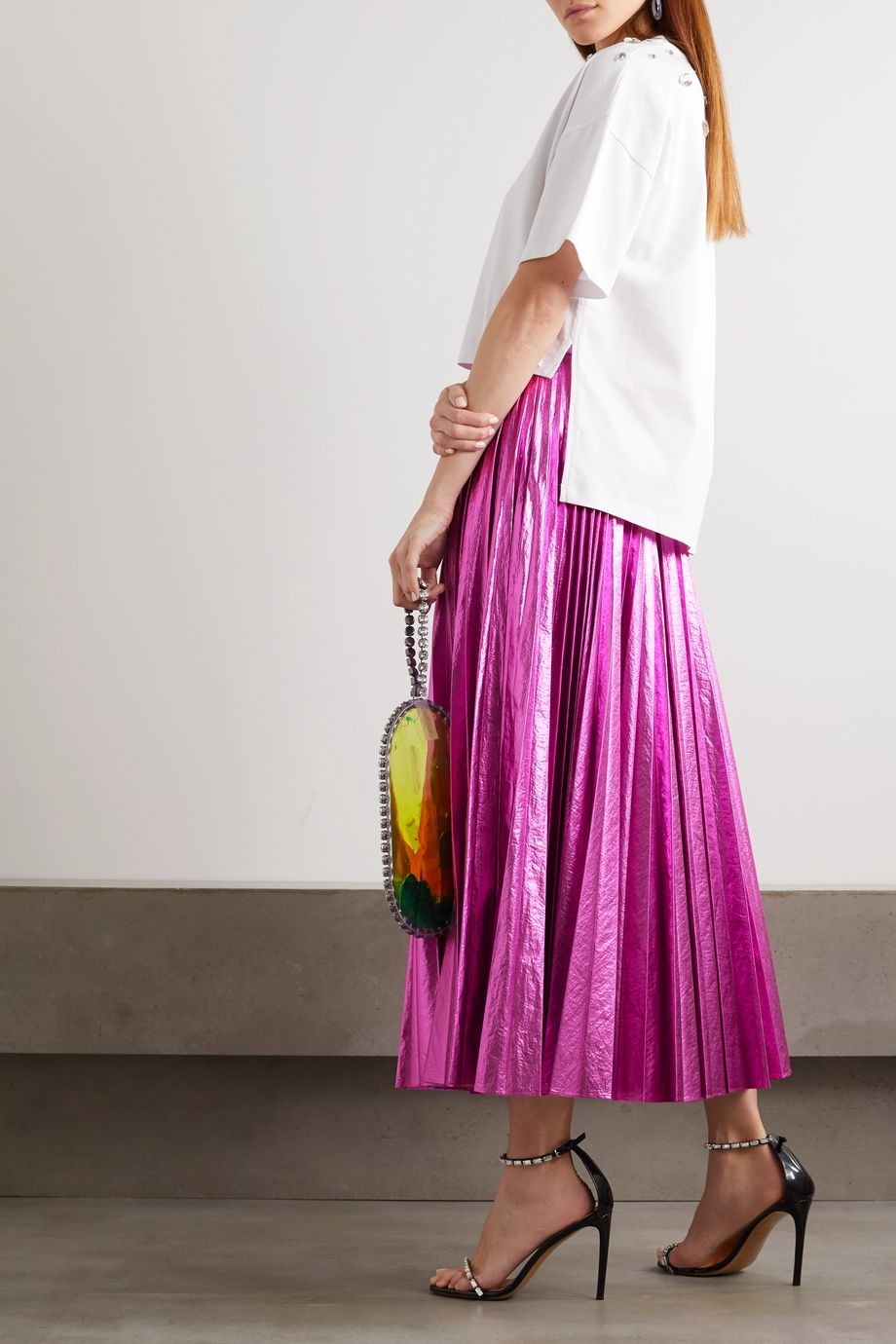 Christopher Kane Pleated crinkled-lamé maxi skirt