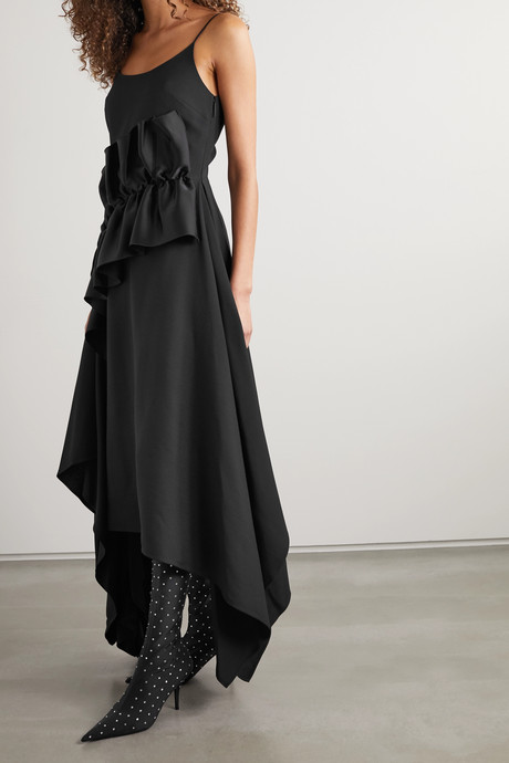 Ruffled satin-trimmed crepe dress