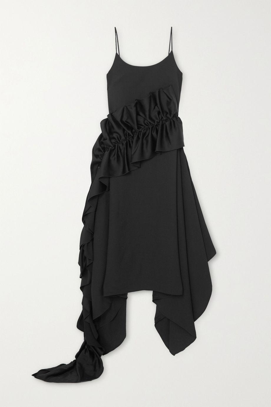 Christopher Kane Ruffled satin-trimmed crepe dress