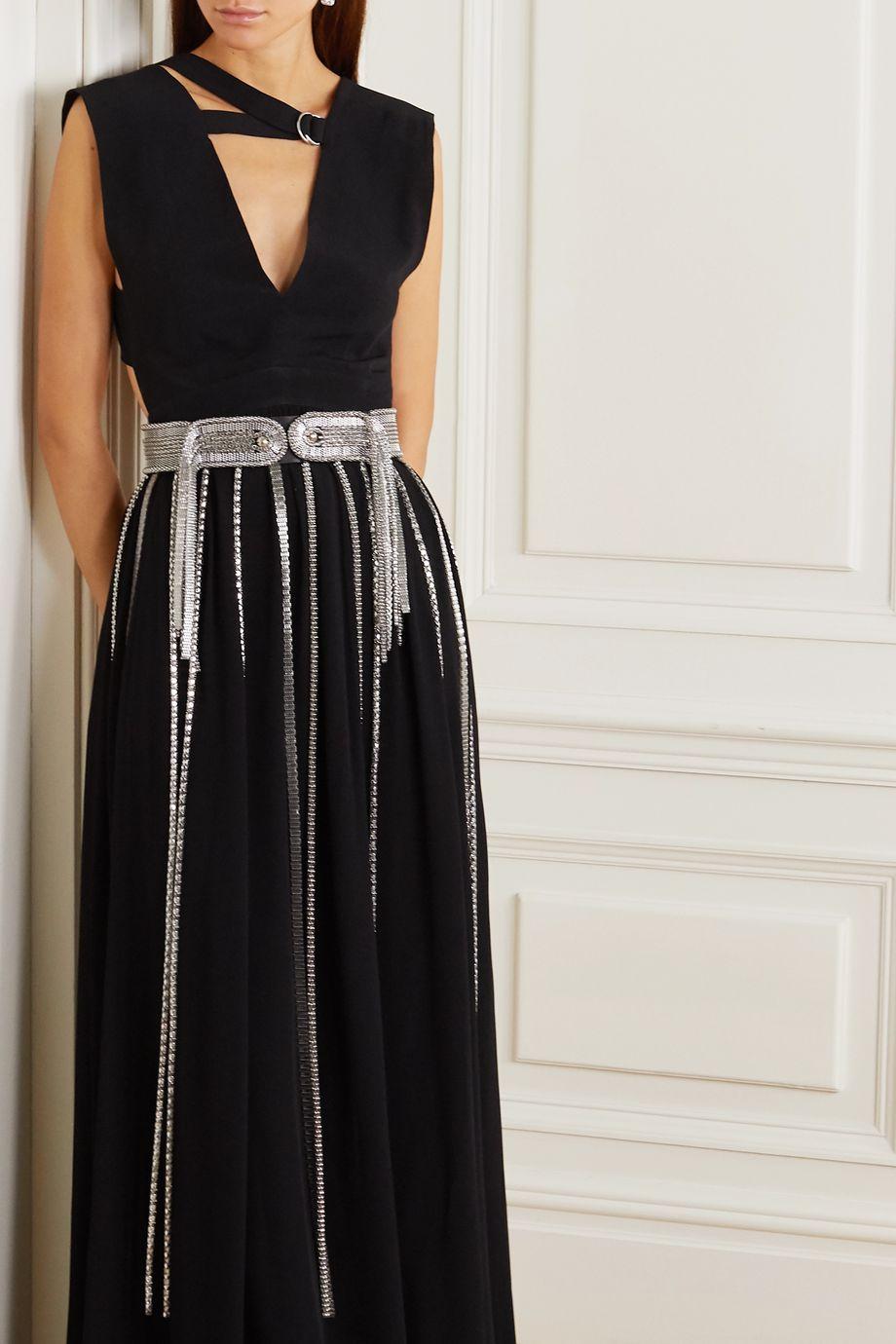 Christopher Kane Chain-embellished leather waist belt