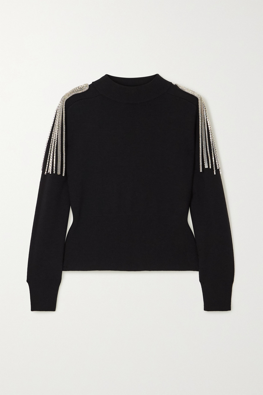 Christopher Kane Cropped chain-embellished merino wool sweater