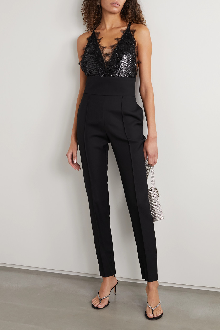 Christopher Kane Lace-trimmed chainmail bodysuit