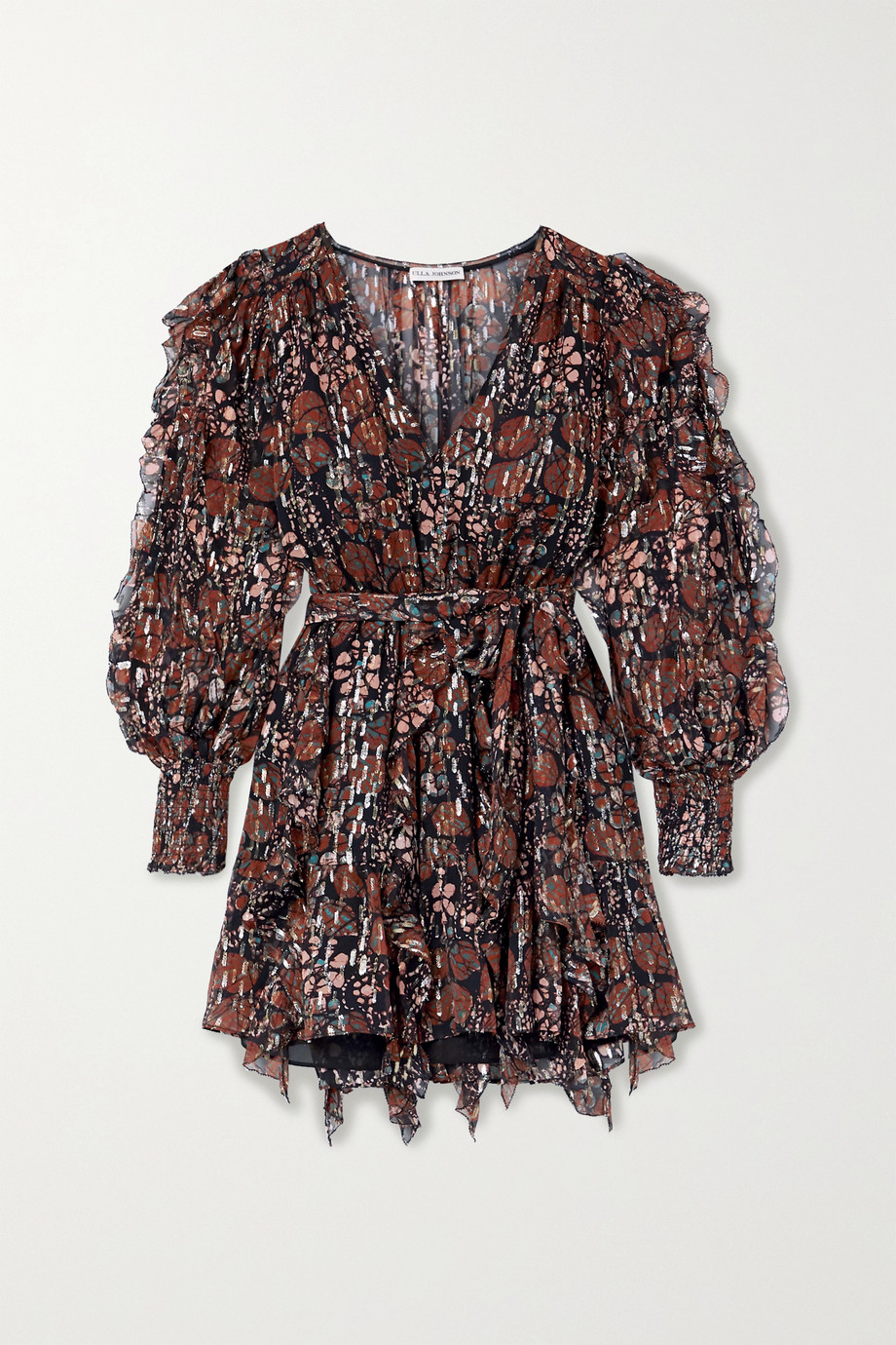 Ulla Johnson Natalia ruffled printed fil coupé silk and Lurex-blend mini dress