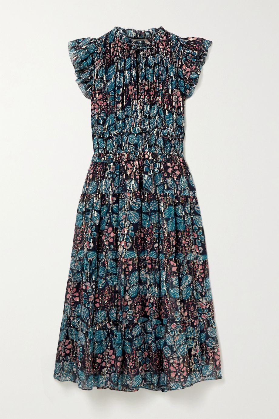 Ulla Johnson Renata ruffled printed fil coupé silk-blend georgette midi dress