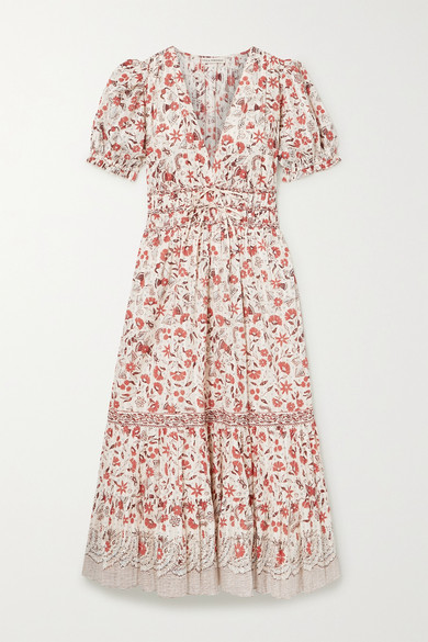 Zaria Floral Print Cotton Midi Dress by Ulla Johnson