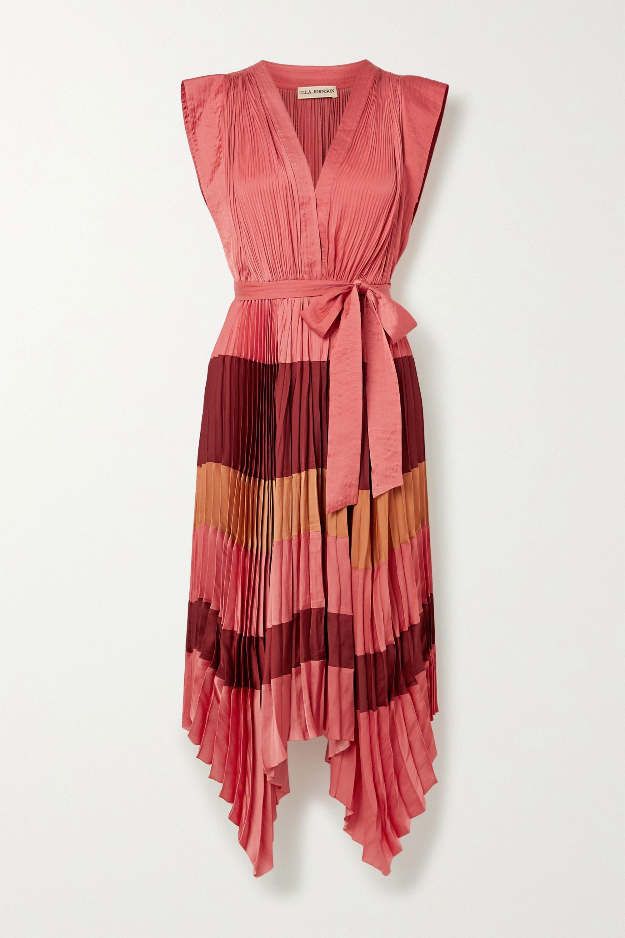Ulla Johnson Maysha belted color-block pleated satin midi dress