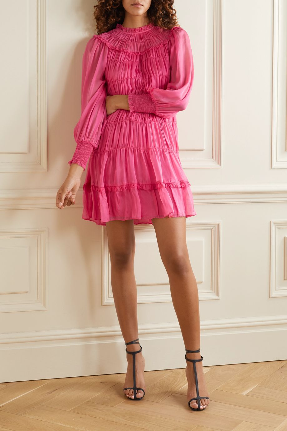 Ulla Johnson Emmeline silk-habotai shirred mini dress
