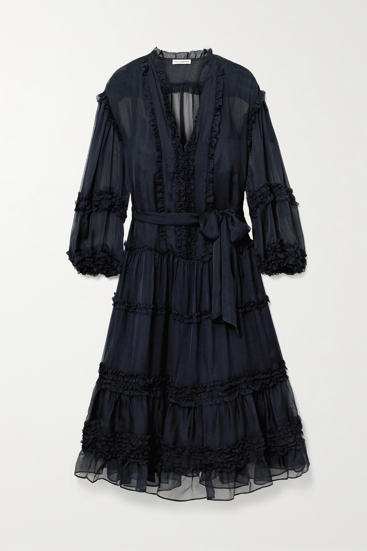 Ulla Johnson Althea belted ruffled silk-chiffon midi dress