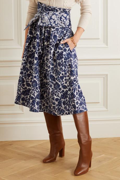 Virgil belted floral-print denim midi skirt
