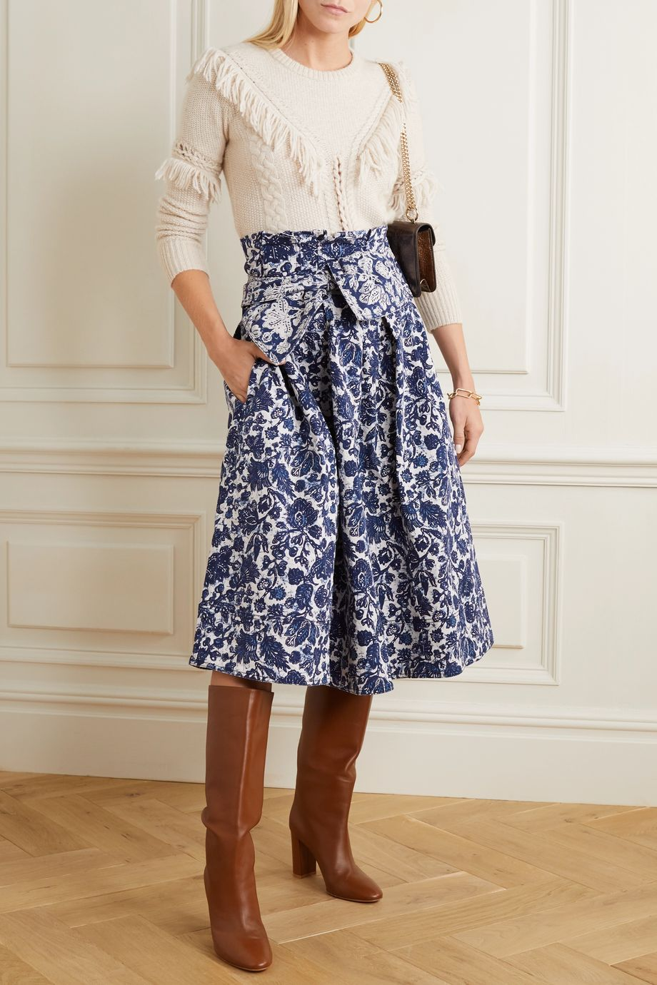 Ulla Johnson Virgil belted floral-print denim midi skirt