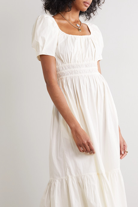 Isla ruffled cotton-poplin midi dress