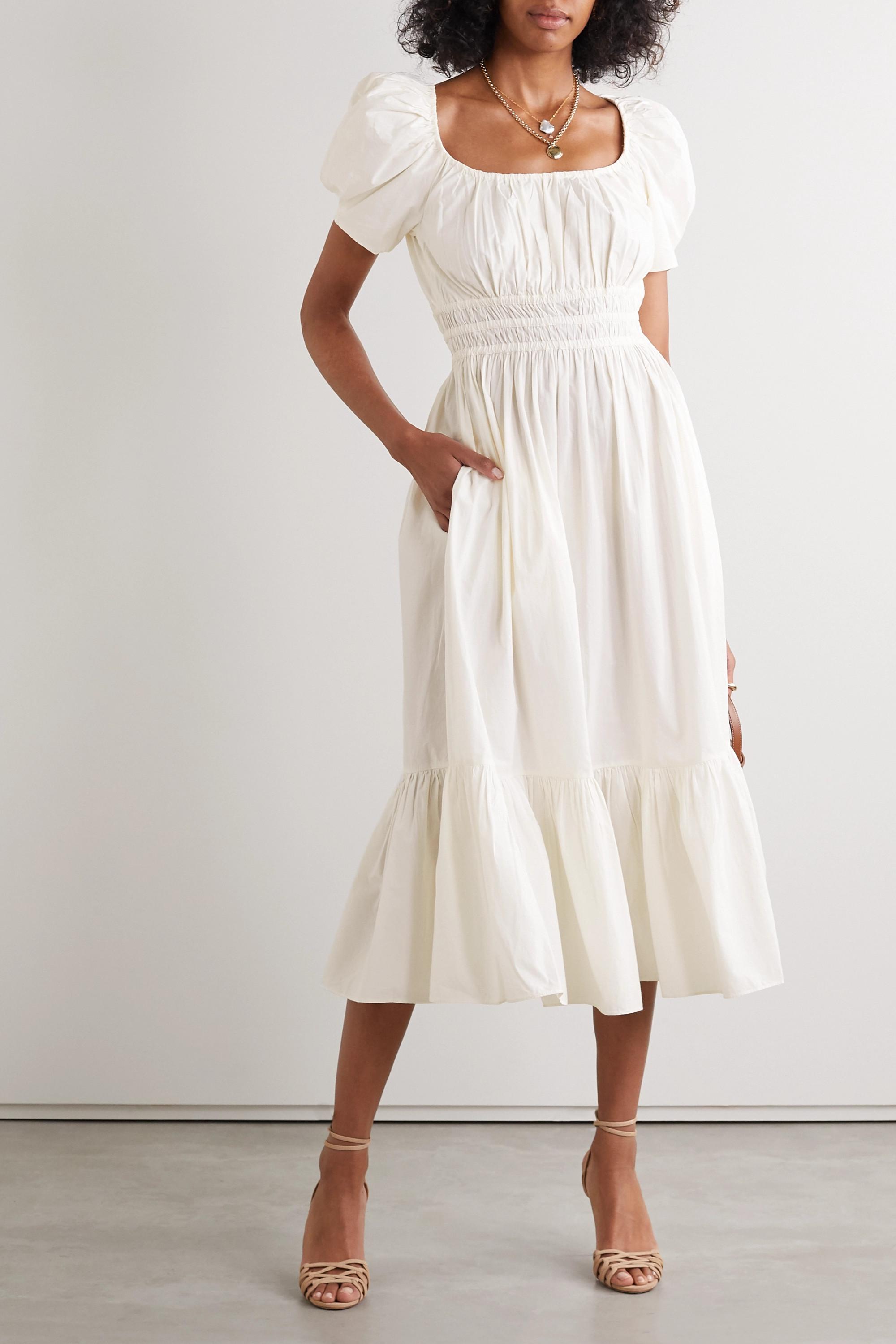 Ulla Johnson Isla ruffled cotton-poplin midi dress